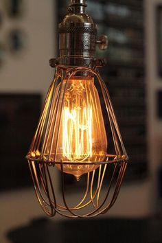 lampara de taller tipo  jaula - vintage industrial