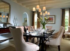 Blue Dining Room Ideas. Love The Comfortable Chairs In This Dining Room.  The Color