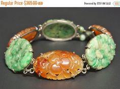 Art Deco Jade & Carnelian Sterling Bracelet by june2six