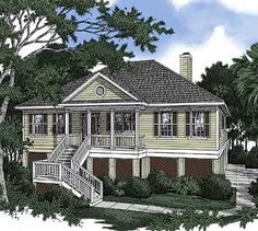 Low Country House Plan with Vaulted Great Room - thumb - 01 Coastal House Plans, Beach House Plans, Southern House Plans, Country House Plans, Coastal Homes, Country Houses, Palm Beach, Villas, Elevated House Plans