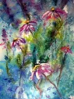 Coneflowers 1original watercolor | kathyblunkwatercolorsetc - Painting on ArtFire