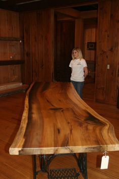 Custom Made Rustic Live Edge Figured Popular Wood Slab Dining Table
