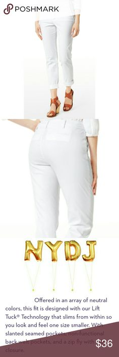 "NYDJ WHITE SLIMMING LIFT& TUCK CROP PANTS NYDJ WHITE SLIMMING LIFT & TUCK CROP PANTS  LIKE NEW! / Pic for Similarity  SZ 2 RN# 132016  CA# 38554 98% Cotton  2% Spandex Slimming White Crops w/ Slit Towards Ankle, Non-functional  Back Slit Pockets, Front Slant Pockets, Fly Zip Front Closure Approx Meas;    *   Waist   14""    *   Inseam   22""    *   Rise   9"" Pls See All Pics. Ask ? If Not Sure NYDJ Jeans Ankle & Cropped"
