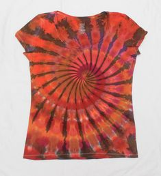 Women Fitted Super Swirl Size M Psychedelic Orange Pink Spiral Tie Dye Shirt by OtdelMaljaraTieDye on Etsy