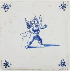 Antique Dutch Delft tile with Cupid leading the way with a candle in his hand, 17th century