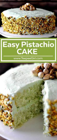 This easy pistachio cake is moist, easy, & delicious! It's the perfect spring dessert and is a tribute to my Aunt Lou! Get the recipe at www.TeepeeGirl.com.