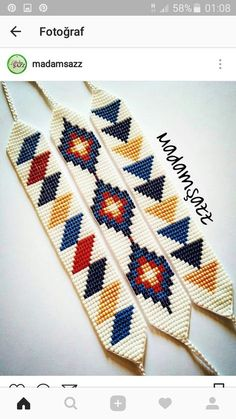 off loom beading stitches Loom Bracelet Patterns, Bead Loom Bracelets, Bead Loom Patterns, Beaded Jewelry Patterns, Peyote Patterns, Beading Patterns, Beading Ideas, Mosaic Patterns, Bead Jewelry