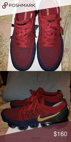 040a93c618cd51 Nike vapormax Burgundy and navy with the gold swoosh