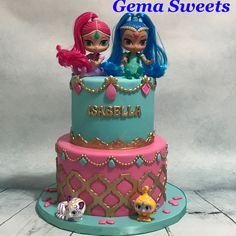 Shimmer and Shine inspired cake by Gema Sweets.