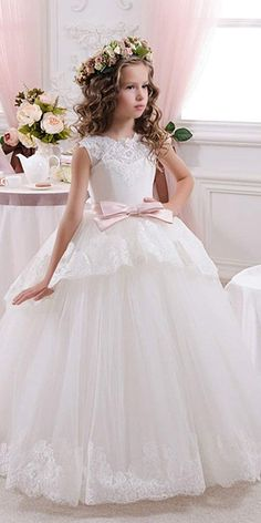 Attractive Tulle   Satin Jewel Neckline Ball Gown Flower Girl Dresses With  Lace Appliques Flower Girl 76c1e0747c2d