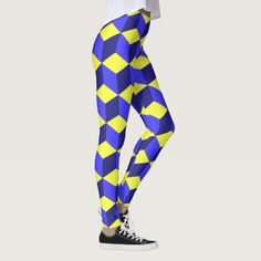 Michigander Qbism Leggings - This fantastic Michigan (GO Blue!) color scheme design will look fabulous as a base to any outfit.  You can pair these leggings with a tanktop, t-shirt, hoodie, or sweater for different fashionable looks.  However you build your outfit around these leggings, your legs will look and feel fabulous. #vintage #antique #classic #retro #Fun   #vintage #PureMichigan #Michigan #UofM #classic #retro #blue #Gold #AnnArbor #UniversityOfMichigan #Cubes #Wolverines