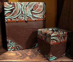 pictures of turquoise items | Turquoise Feather Design Embossed Cowhide Leather Bath Accessories ...