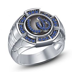 925 Silver Men's Band Ring Round Blue Sapphire in 14K White Gold Finish 7 8 9 10 #beijojewels #MensBandRing