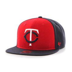 bb29101822d7f0 Minnesota Twins Sure Shot Accent Captain Navy 47 Brand Adjustable Hat