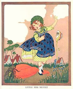 Vintage 1930s Little Miss Muffet Nursery Rhyme Illustration Print by E Bachmann