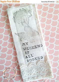 Shabby Chic Lace Linen Fabric Bookmark by ThreeSchatze on Etsy
