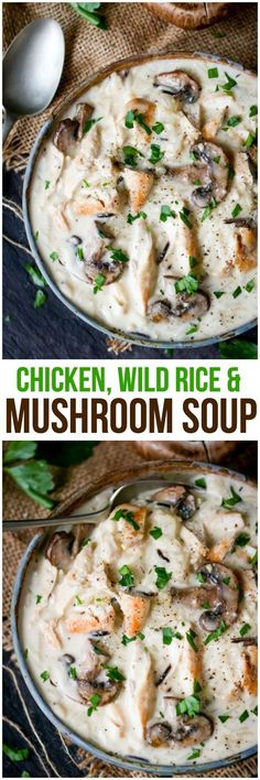 Quick & easy weeknight dinner - Chicken, Wild Rice & Mushroom Soup - Hearty, comforting soup that will fill your belly and warm your soul! A crowd-pleasing favorite. Chili Recipes, Crockpot Recipes, Cooking Recipes, Healthy Recipes, Healthy Fall Soups, Chicken Broth Recipes, Hearty Soup Recipes, Mushroom Soup Recipes, Recipe Chicken
