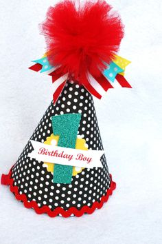 Items similar to a vintage circus birthday party hat in black white polka dot and red white stripe with aqua and yellow accents on Etsy Birthday Party Hats, Circus Birthday, Circus Party, Boy Birthday, Birthday Ideas, Circus 1st Birthdays, First Birthdays, Red And White Stripes, Black White