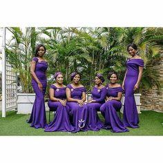 purple bridesmaids dresses by fascinators by Bright Purple Bridesmaid Dresses, African Bridesmaid Dresses, Mermaid Bridesmaid Dresses, African Wedding Dress, Bridal Wedding Dresses, Wedding Attire, Wedding Bridesmaids, Pink Evening Dress, Evening Outfits