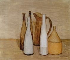 Giorgio Morandi, 'Still Life (Natura Morta)', Oil on canvas. Italian Painters, Italian Artist, Simple Subject, Deco Paint, Object Drawing, Oil Painting Reproductions, Art Blog, Painting & Drawing, Still Life