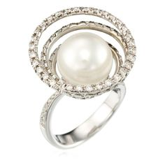 White Gold Ring with Diamonds (1.25 ct) & Pearl