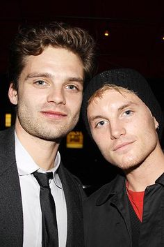 Sebastian Stan and Toby Hemingway at the opening night after party. Sebastian Stan, Hp Fanfiction, Toby Hemingway, Jessica Lucas, Taylor Kitsch, Meme Lord, Handsome Actors, Bucky Barnes, Most Beautiful Man