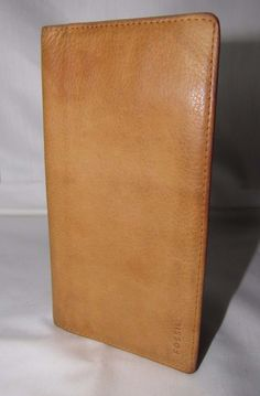 Fossil Brown Leather checkbook wallet cover