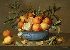Still Print featuring the painting Still Life With Oranges And Lemons In A Wan-li Porcelain Dish by Jacob van Hulsdonck