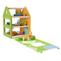 Drewniany domek trzypiętrowy Plan Toys - mebelki + laleczki + mata (ogród)