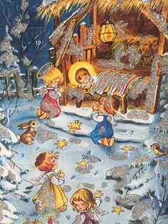 Kruger Xmas Nativity Angels Glitter Advent Calendar Card Western Germany VTG IOP #Germany