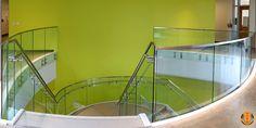 Curved Glass Button Railing - St. Edwards University - VIVA VIEW™ Glass