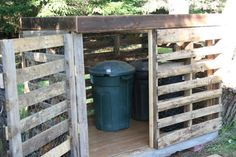 pallets as garbage can bins...  a little paint would make it look lots better http://recycledawblog.blogspot.com/2012/08/how-to-build-pallet-garbage-recycling.html