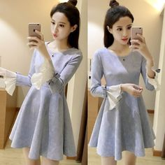 "Sweet bowknot lotus leaf sleeve dress  Coupon code""cutekawaii"" for 10% off"