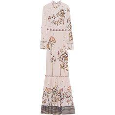 VILSHENKO Emila Bird Crepe Almond // Floor-length silk dress (€1.599) ❤ liked on Polyvore featuring dresses, midi dresses, long sleeve floral dress, long-sleeve floral dresses, pink long sleeve dress and long sleeve midi dress