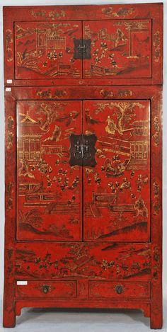 Antique Asian Furniture: Rare Antique Chinese Cabinet with Matching Painted Trunk from Shanxi Province, China