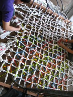 "Plastic Bag Hammock Project III: Site Specific Installation ""Everyday Objects"" Using some sort of scavenged, easily amassed material. Use a repetitive, accumulative process to create an installation that create a spec… Plastic Bag Crafts, Plastic Bag Crochet, Recycled Plastic Bags, Plastic Art, Recycled Crafts, Diy Crafts, Plastic Spoons, Recycled Clothing, Recycled Fashion"