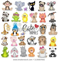Buy Set of Cartoon Animals by on GraphicRiver. Set of Cute Cartoon Animals on a white background Baby Animal Drawings, Cartoon Drawings Of Animals, Cute Cartoon Animals, Animal Sketches, Baby Cartoon, Cute Baby Animals, Cute Drawings, Disney Drawings, Cartoon Ideas