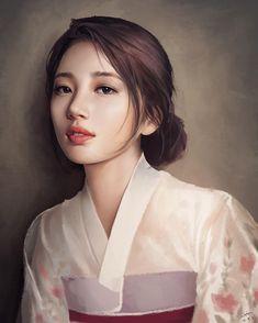 곧 탄신일이 돌아온다.. . . #수지 #팬아트 #그림 #일상 #한복 #예쁨 @skuukzky #떨림 #긴장 ㅠ Hiba Tan, Miss A Suzy, Korean Painting, Bae Suzy, Human Art, Digital Portrait, K Idol, Korean Artist, Pencil Portrait