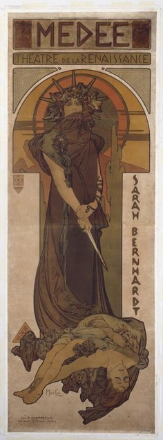 Medee. Poster (on 2 sheets joined), designed by Alphonse Mucha, advertising a production of 'Médée' at the Théâtre de la Renaissance, Paris. Colour lithograph, 1898.