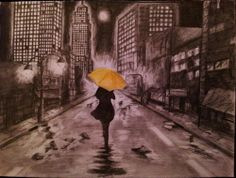 Photo of My himym inspired NY drawing for fans of How I Met Your Mother. My drawing of New York with Yellow umbrella reference from himym ;)