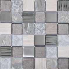 Grey Element Square Pattern Glass, Marble and Metal Mosaic Tile Grey Mosaic Tiles, Marble Mosaic, Mosaic Glass, Kitchen Mosaic, Mosaic Bathroom, Master Bathroom, Home Depot, Glass Tile Backsplash, Herringbone Backsplash