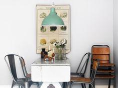 Gammalt hemsnickrat matbord, skolstolar hittades på loppis. Tolixstolarna i galvad plåt finns hos Svenssons i Lammhult, taklampa BoConcept.