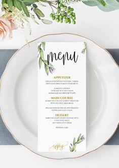 Wedding Menu Template, Printable Menu, Floral Wedding Menu Template, Wedding Dinner Menu, Instant Do Diy Wedding Menu, Wedding Dinner Menu, Wedding Menu Template, Wedding Table, Floral Wedding, Wedding Stationery, Wedding Invitations, Menu Card Template, Printable Menu