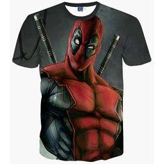 New Fashion American Anime Comic Badass Deadpool T Shirt Unisex Cartoon Print 3D T-shirt Men/Women T