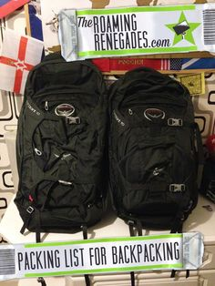 packing list for backpacking