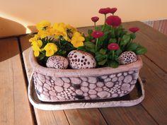 """Truhlík - korýtko Včetně tří dekoračních šamotových """"kamenů"""" , však bez hlíny a rostlin. šířka květináče 18 cm délka 26 cm šířka podmisky 29 cm délka 18 cm"""
