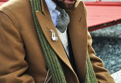 Camel colored coat, outfit, stylish way to store your headphones sir!