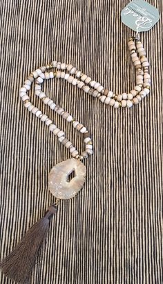 African Agate Tassel Necklace, $84