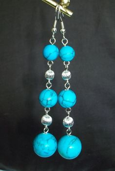 Howlite turquoise Dangle earrings by mwadsworth on Etsy, $5.00