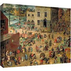 ArtWall Pieter Bruegel Children's Games Gallery-Wrapped Canvas, Size: 18 x 24, Red